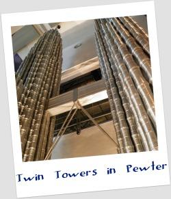 Model of Petronas Twin Towers made of 7000 Royal Selangor pewter tankards.