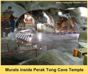 Murals and calligraphy adorn the walls of Perak Tong