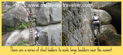 Ladders are needed to ascend the final few meters on Gunung Datuk.