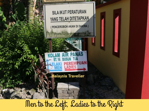 Facilities at Dusun Tua Hot Spring are segregated by gender