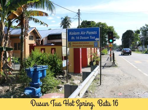 Sign showing entrance to Dusun Tua Hot Springs