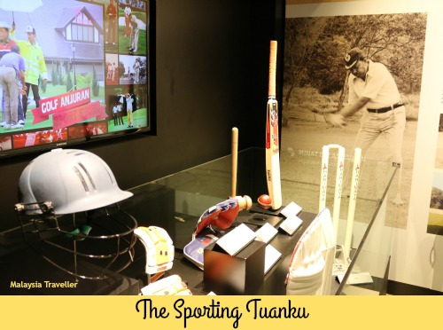 The Sultan's cricket equipment at Galeri Diiraja