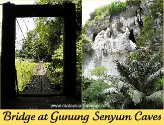 Suspension bridge across the lake at Gunung Senyum Caves.
