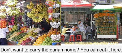 Durian and other fruits on sale at Chow Kit