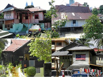 Traditional Malay houses in Kampung Baru