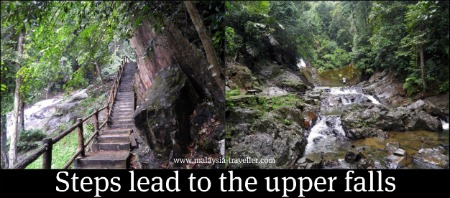 Steps lead up to a second waterfall at Kota Tinggi