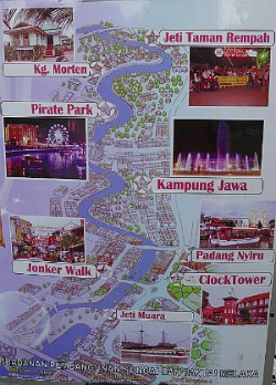 Map of the route taken by the Melaka River Cruise