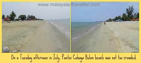 The empty beach at Pantai Cahaya Bulan.
