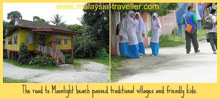 Friendly kids in Malay kampungs on the way to Pantai Cahaya Bulan.