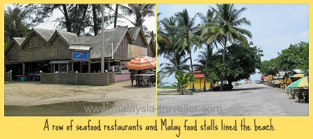 Restaurants and food stalls at Pantai Cahaya Bulan.