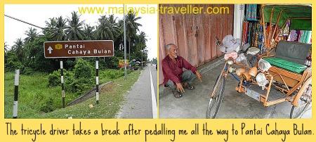 The tricycle driver who took me to Pantai Cahaya Bulan.
