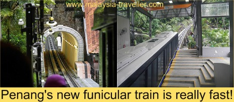The speedy new funicular train at Penang Hill
