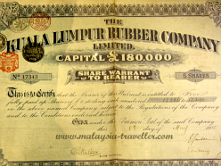 Old share certificate at the Petaling Jaya Museum