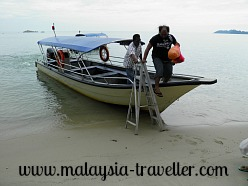 Speed Boat Arriving at Pulau Besar