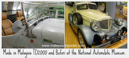 Malaysian-made TD2000 and Bufori cars at the National Automobile Museum.