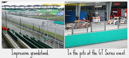 The grandstand and pits at Sepang International Circuit