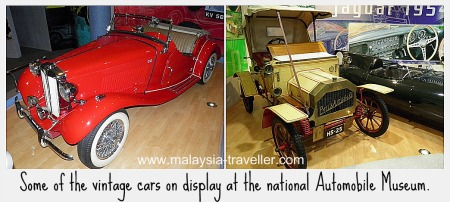Vintage cars on display at National Automobile Museum, Sepang International Circuit.