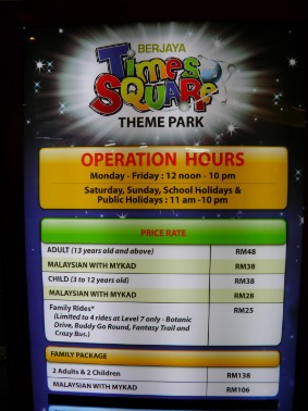 Times Square Theme Park Opening Hours
