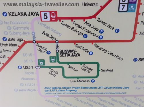 Route Map showing how BRT fits into the Klang Valley Intergrated Transport Network