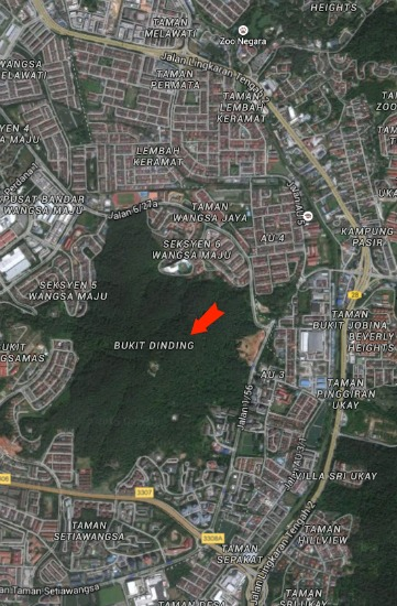 Map showing location of Bukit Dinding