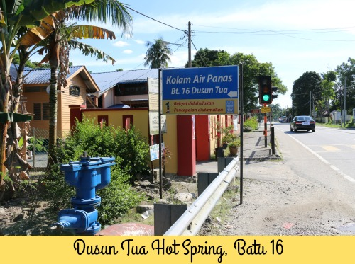 Sign showing entrance to Dusun Tua Hot Springs
