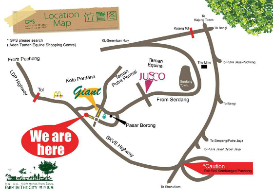 Direction Map for Farm In The City, Malaysia
