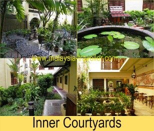 There are a number of pretty courtyards and gardens at the Hotel Puri.