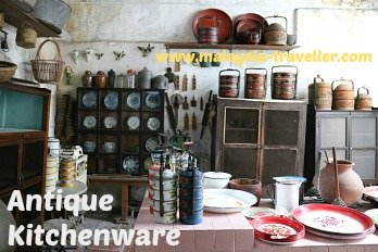 Tiffin boxes and kitchenware at Old House Museum, Taiping