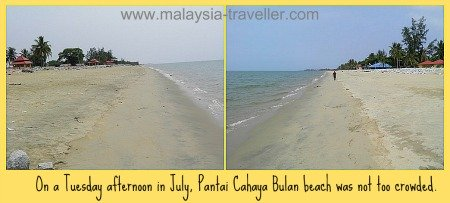 The empty beach at Pantai Cahaya Bulan.