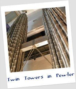 Model of Petronas Twin Towers made of 7000 Royal Selangor pewter tankards.