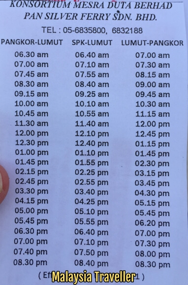 Pangkor Island Ferry Schedule Ticket Price And Location